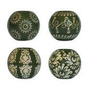 4 Porta Velas de Porcelana Verdes 10 Cm