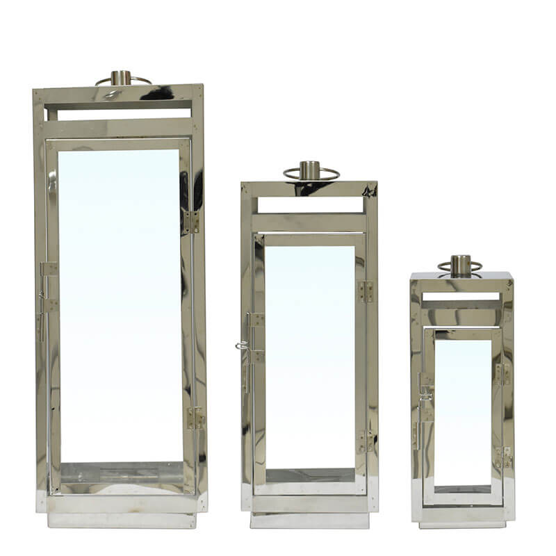 3 Lanternas Pratas Aachen 60 Cm
