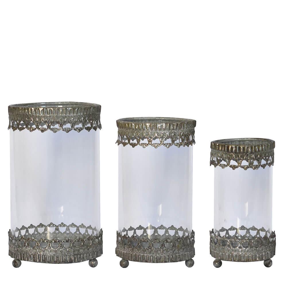 3 Lanternas Pratas Marie 21 Cm