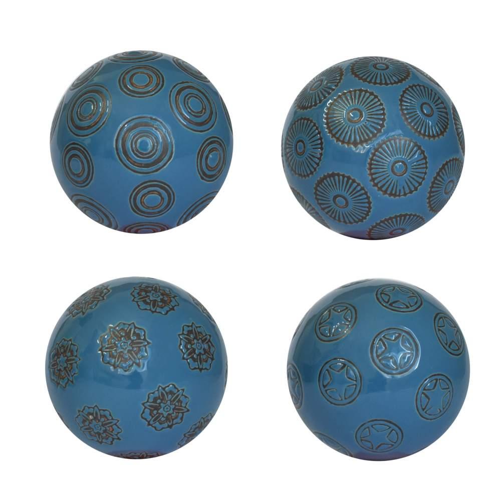 4 Bolas Decorativas de Porcelana Azuis Celestes 10 Cm
