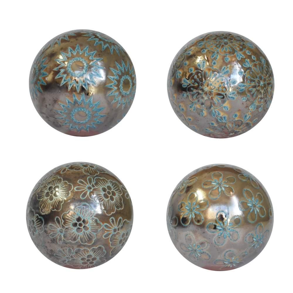 4 Bolas Decorativas de Porcelana Chumbo 10 Cm