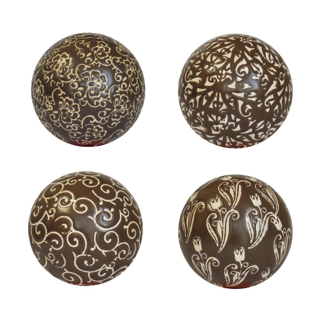 4 Bolas Decorativas de Porcelana Marrons 10 Cm