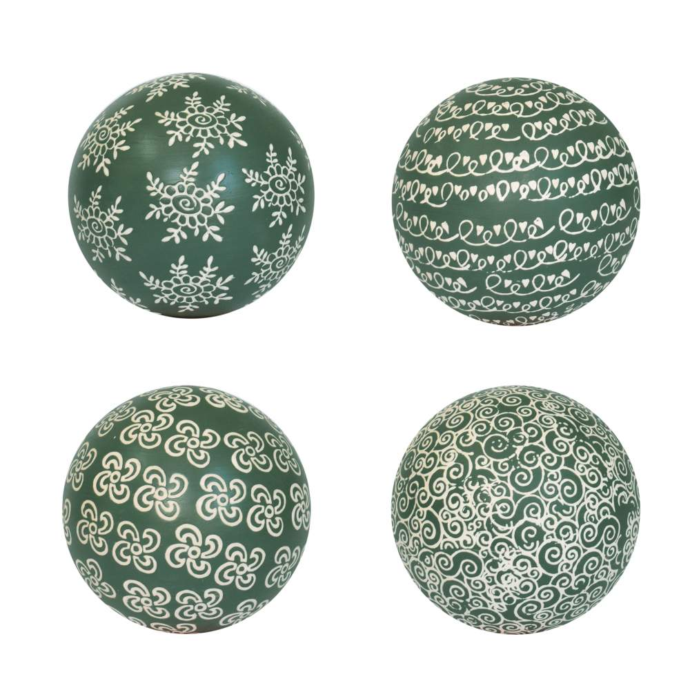 4 Bolas Decorativas de Porcelana Verdes 10 Cm