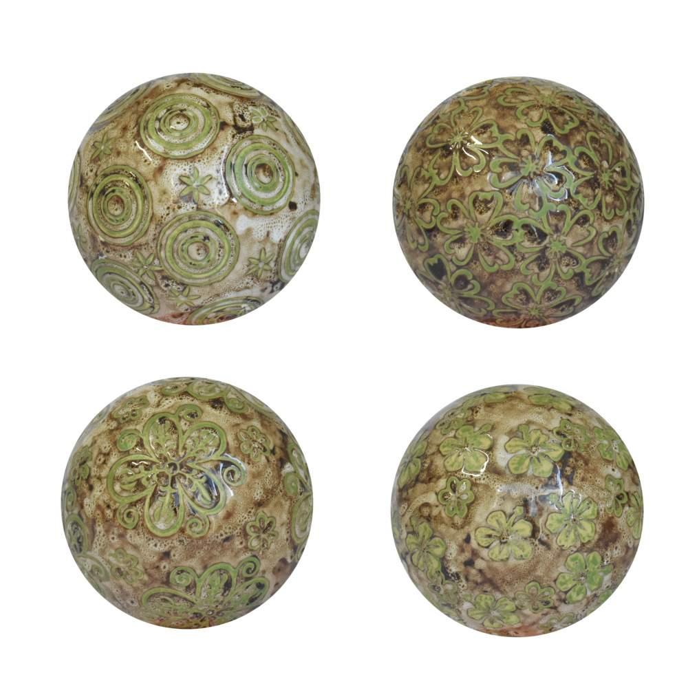 4 Bolas Decorativas de Porcelana Verdes e Beges 10 Cm
