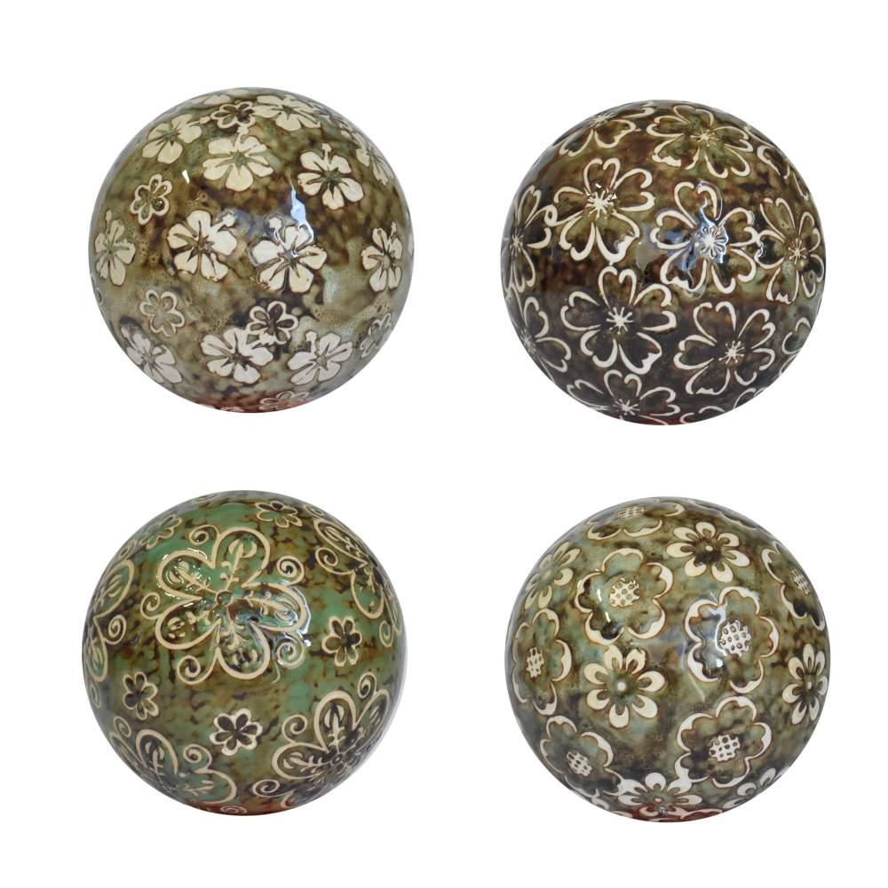4 Bolas Decorativas de Porcelana Verdes e Marrons 10 Cm