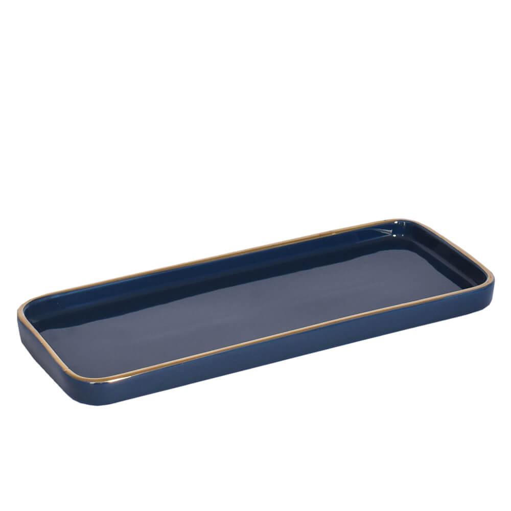 Bandeja Retangular Azul Franc G 31,5 Cm
