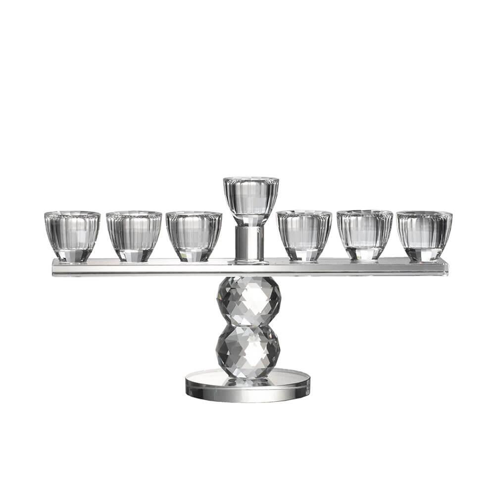 Castiçal de Cristal Lapidado Menorah 14 Cm