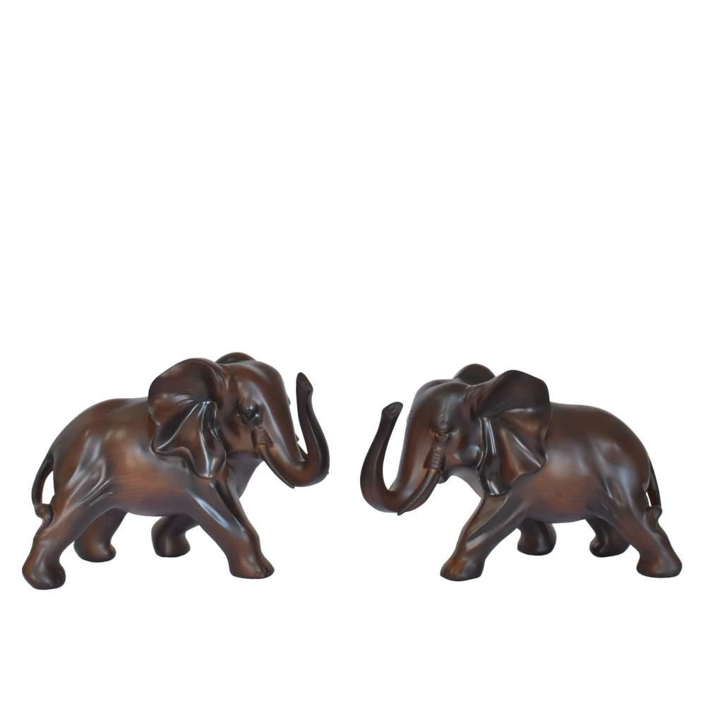 Conjunto 2 Estatuetas Marrons Elefantes Lanka 15 Cm