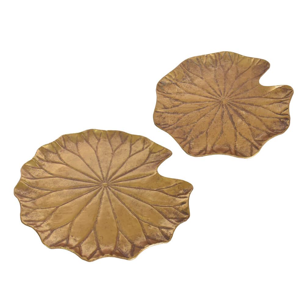 Conjunto 2 Folhas Douradas de Metal 41 Cm