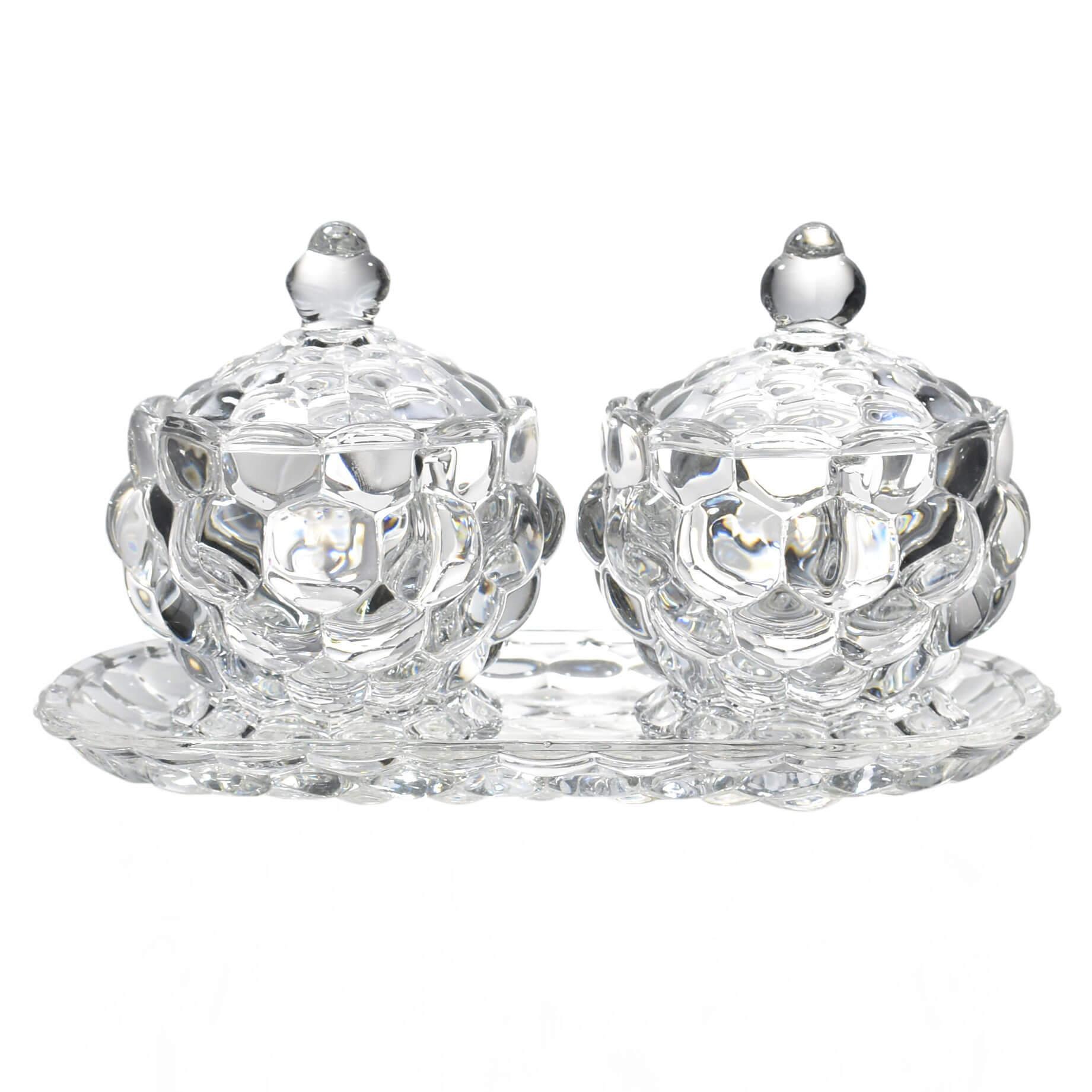 Conjunto Bandeja e 2 Bombonieres de Cristal Callas 21,5 Cm