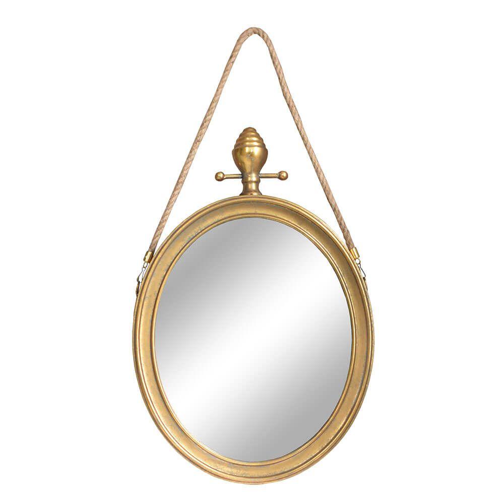Espelho Oval Dourado Basel 78 Cm
