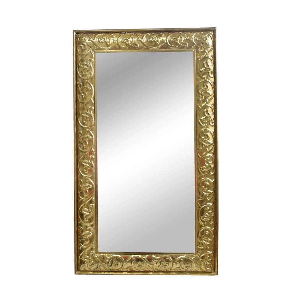 Espelho Retangular Dourado Madras 112 Cm