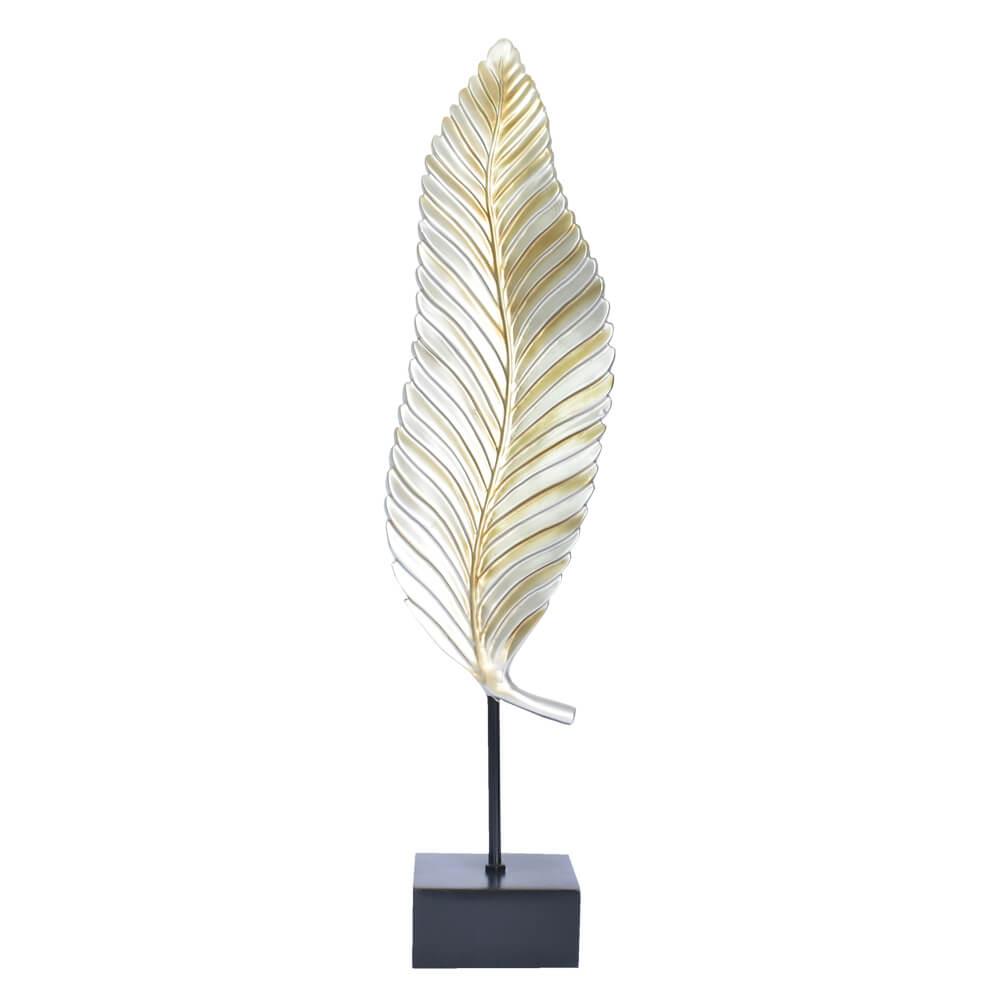 Estatueta Folha Prata e Dourada 54,5 Cm