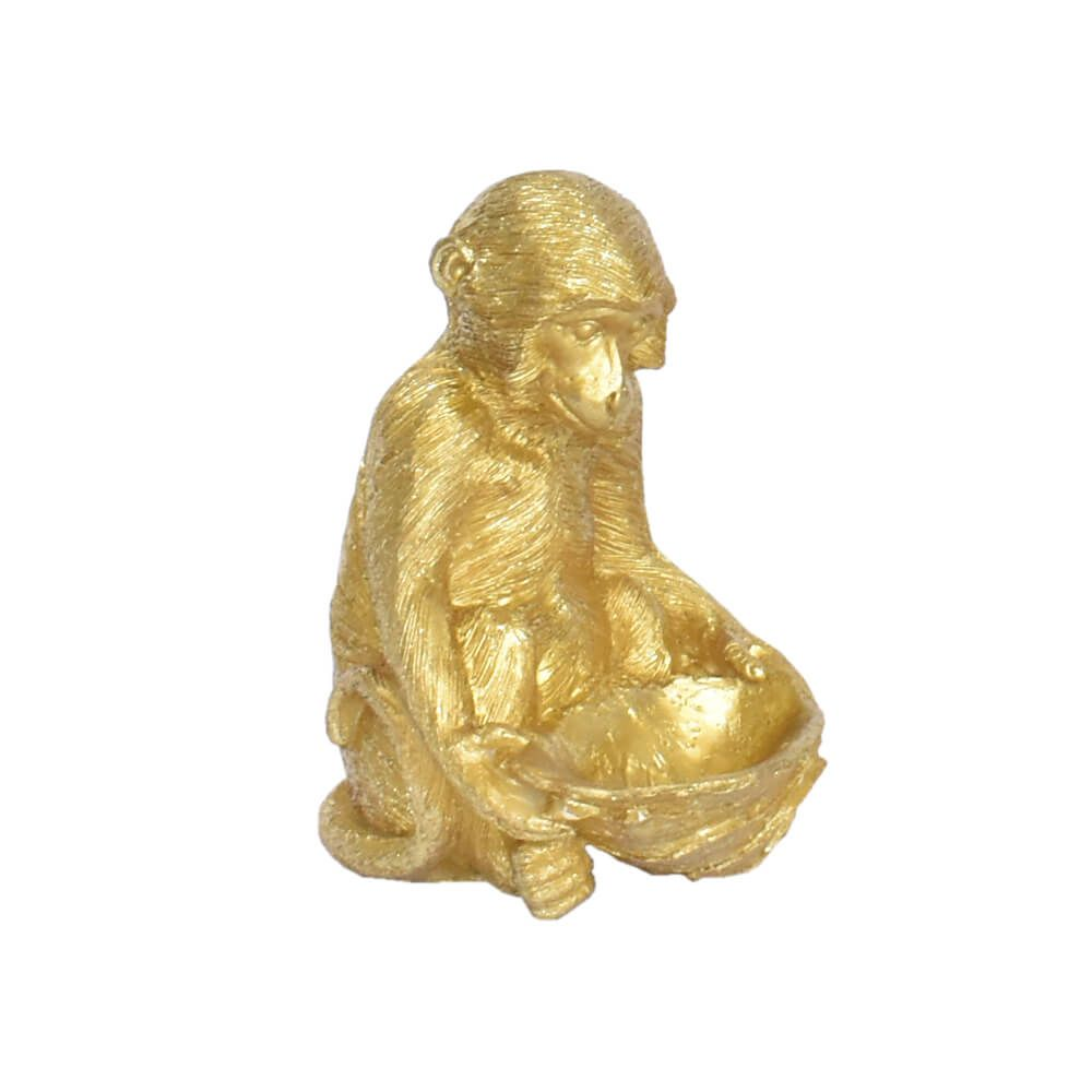 Estatueta Macaco Dourado Down 14,5 Cm