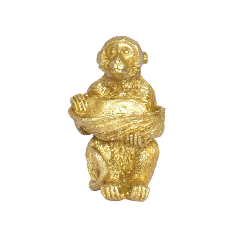 Estatueta Macaco Dourado Top 14,5 Cm