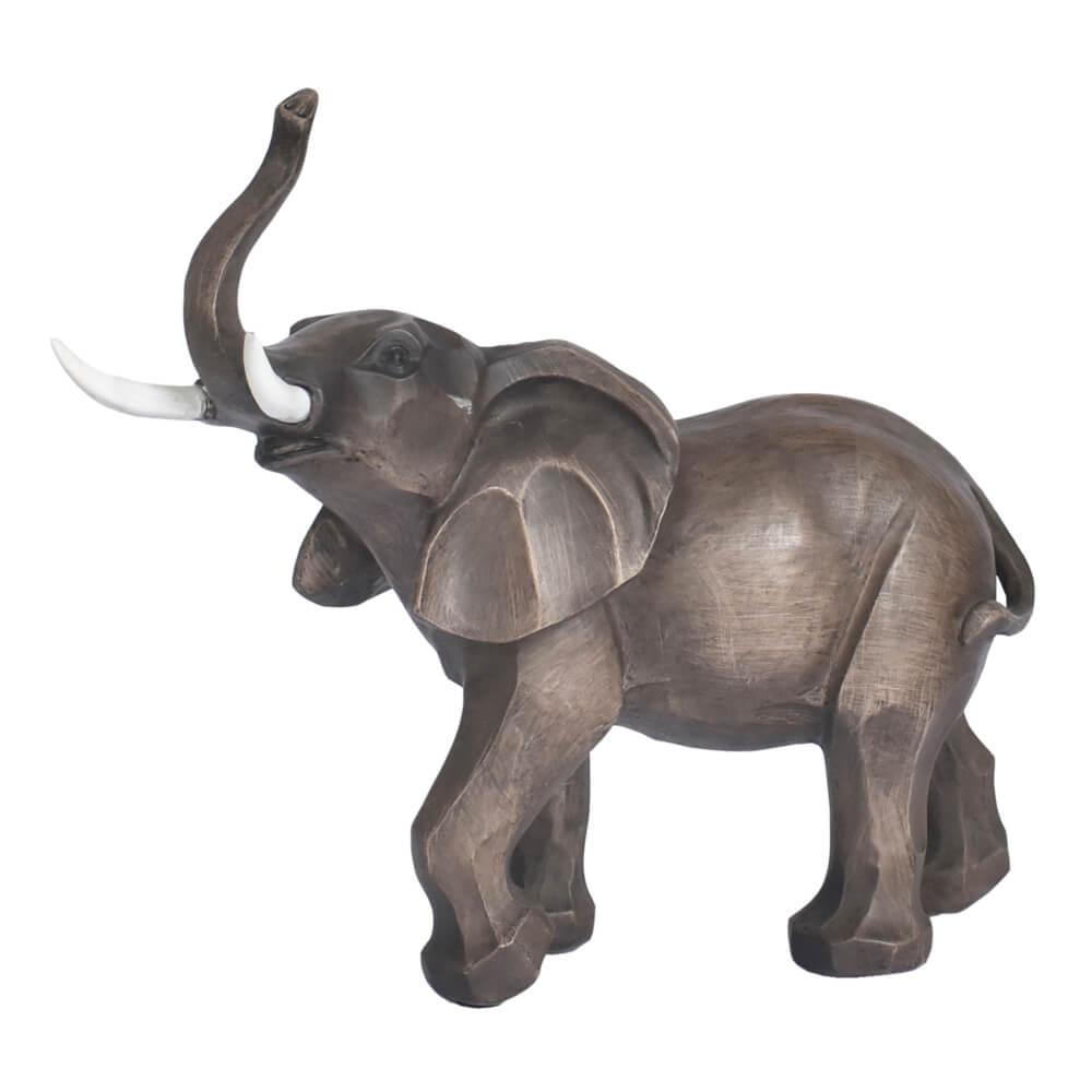 Estatueta Marrom Elefante Marfim 30 Cm