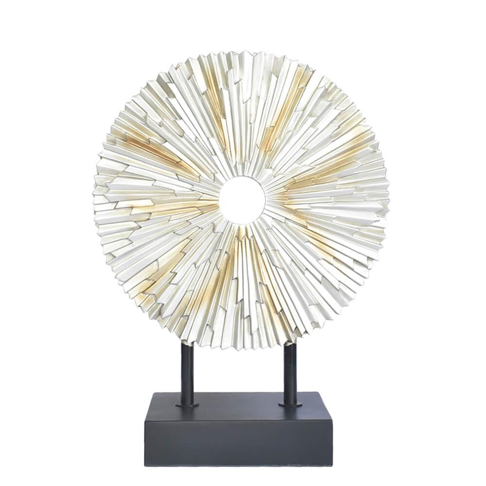 Estatueta Roseta Prata e Dourada Solar 38,5 Cm