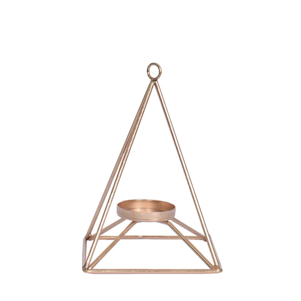 Lanterna Aramada Dourada Piramidal 17,5 Cm