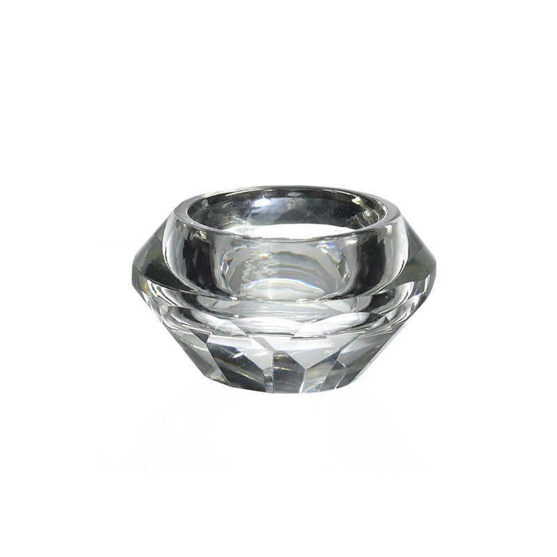 Porta Vela de Cristal Lapidado Rechaud A 3,5 Cm