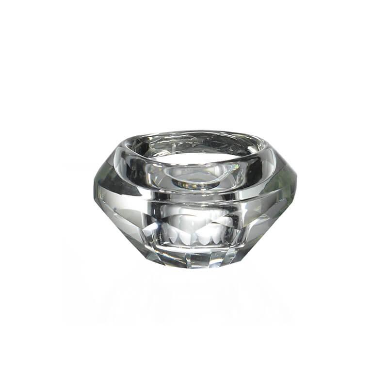 Porta Vela de Cristal Lapidado Rechaud C 4 Cm