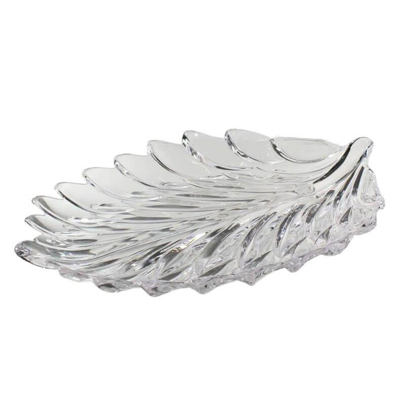 Prato de Cristal Leaf 38,5 Cm