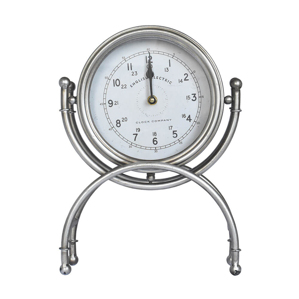 Relógio de Mesa Prata English 33,5 Cm
