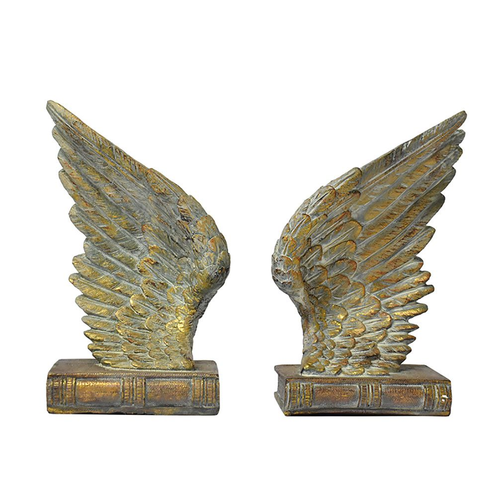 Suporte de Livros Asas Douradas Wings 27 Cm