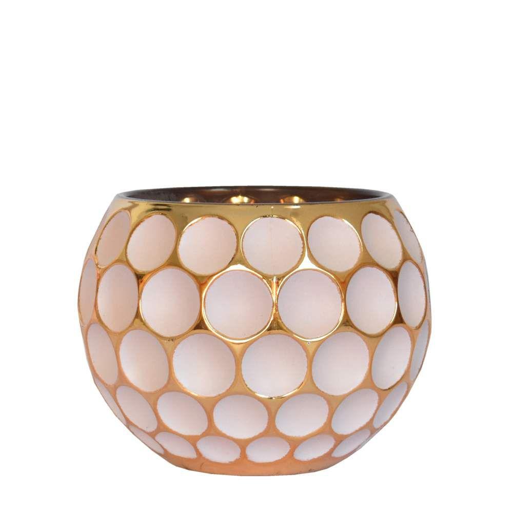 Vasinho Branco e Dourado Lumen Lux 10 Cm