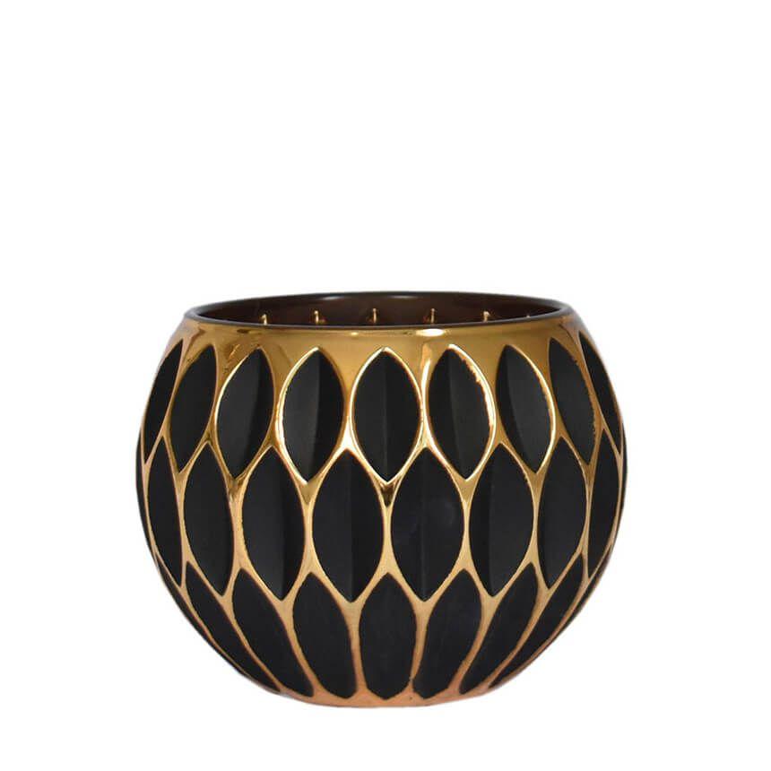 Vasinho Preto e Dourado Lumen Net 10 Cm
