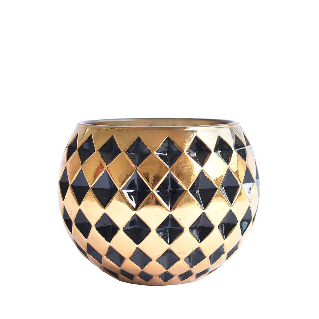 Vasinho Preto e Dourado Lumen Tella 10 Cm