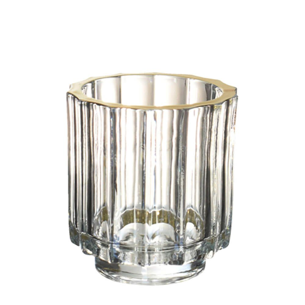 Vasinho Transparente e Dourado Lumen Turner G 10 Cm