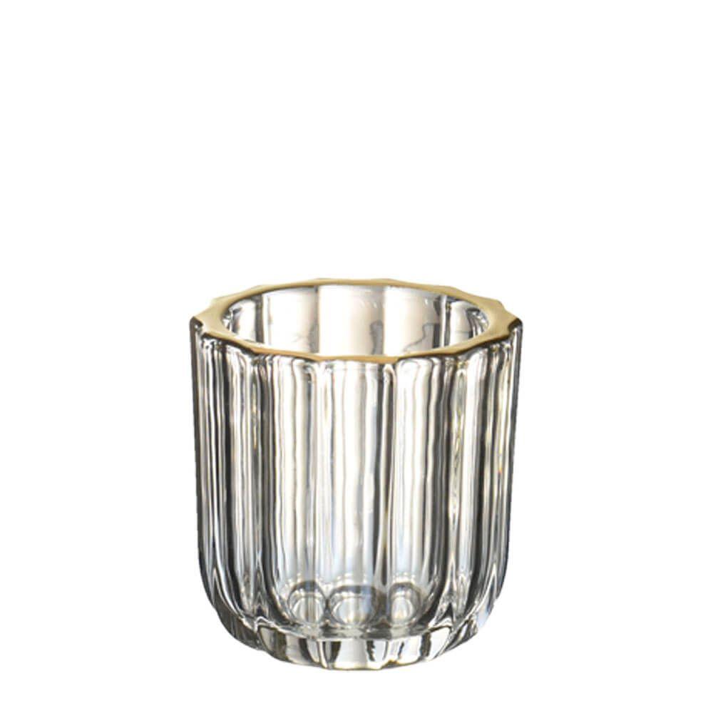 Vasinho Transparente e Dourado Lumen Turner P 8 Cm