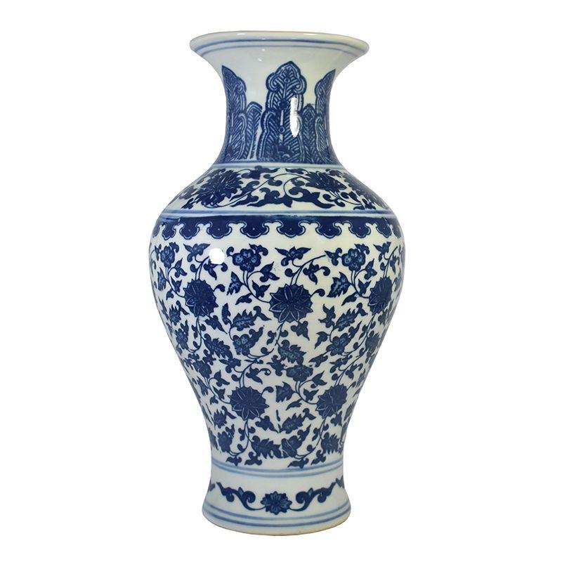 Vaso Azul e Branco de Porcelana Ming Dianbai A 29,5 Cm