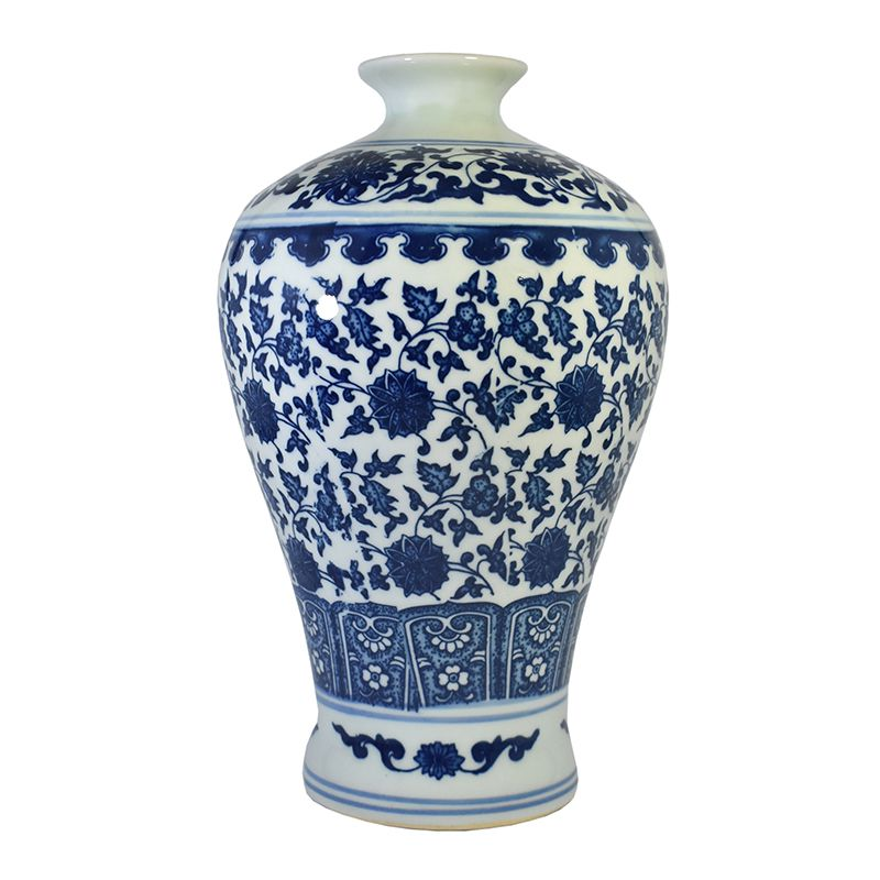 Vaso Azul e Branco de Porcelana Ming Dianbai B 28 Cm