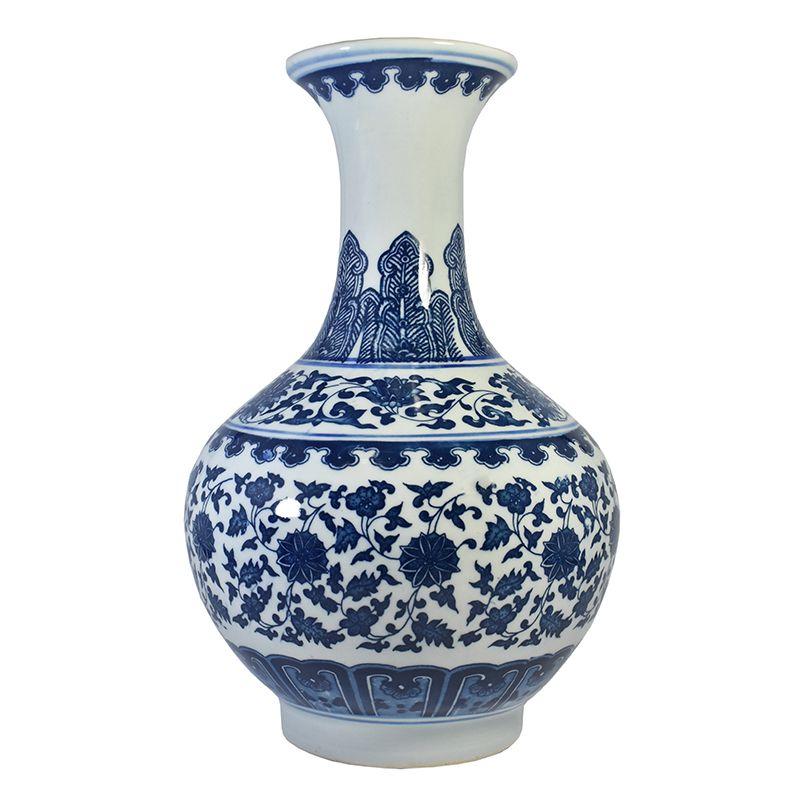 Vaso Azul e Branco de Porcelana Ming Dianbai C 31,5 Cm