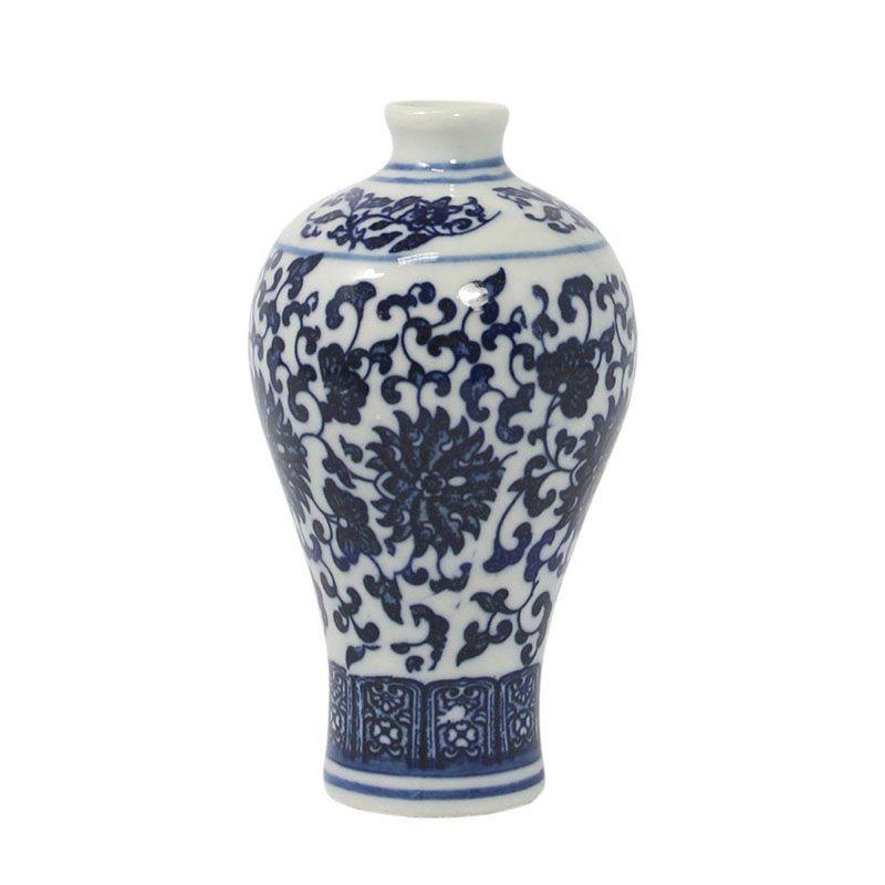 Vaso Azul e Branco de Porcelana Ming Hainan E 10,5 Cm
