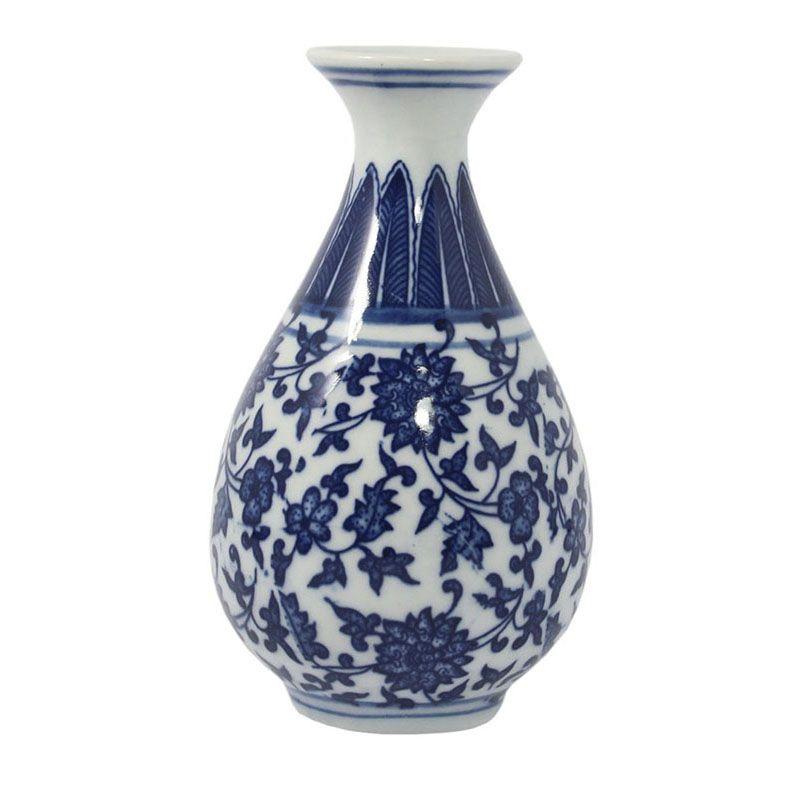Vaso Azul e Branco de Porcelana Ming Hangzhou D 13,5 Cm