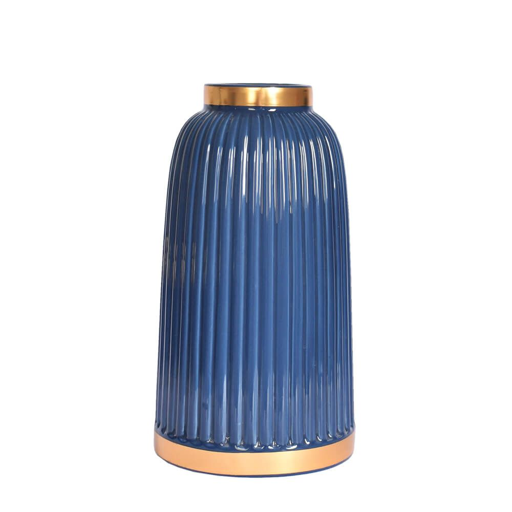 Vaso Azul e Dourado Azuline G 25 Cm