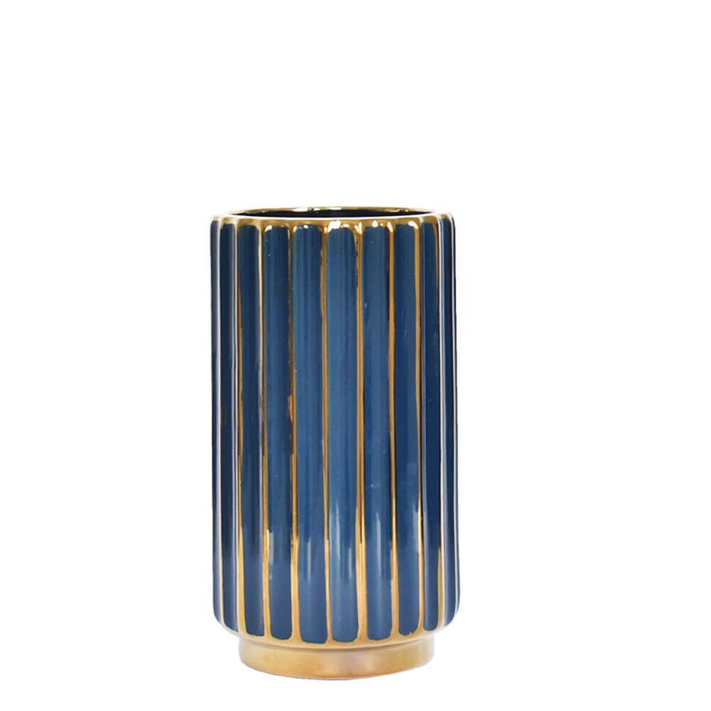 Vaso Azul e Dourado Stigmo P 21 Cm