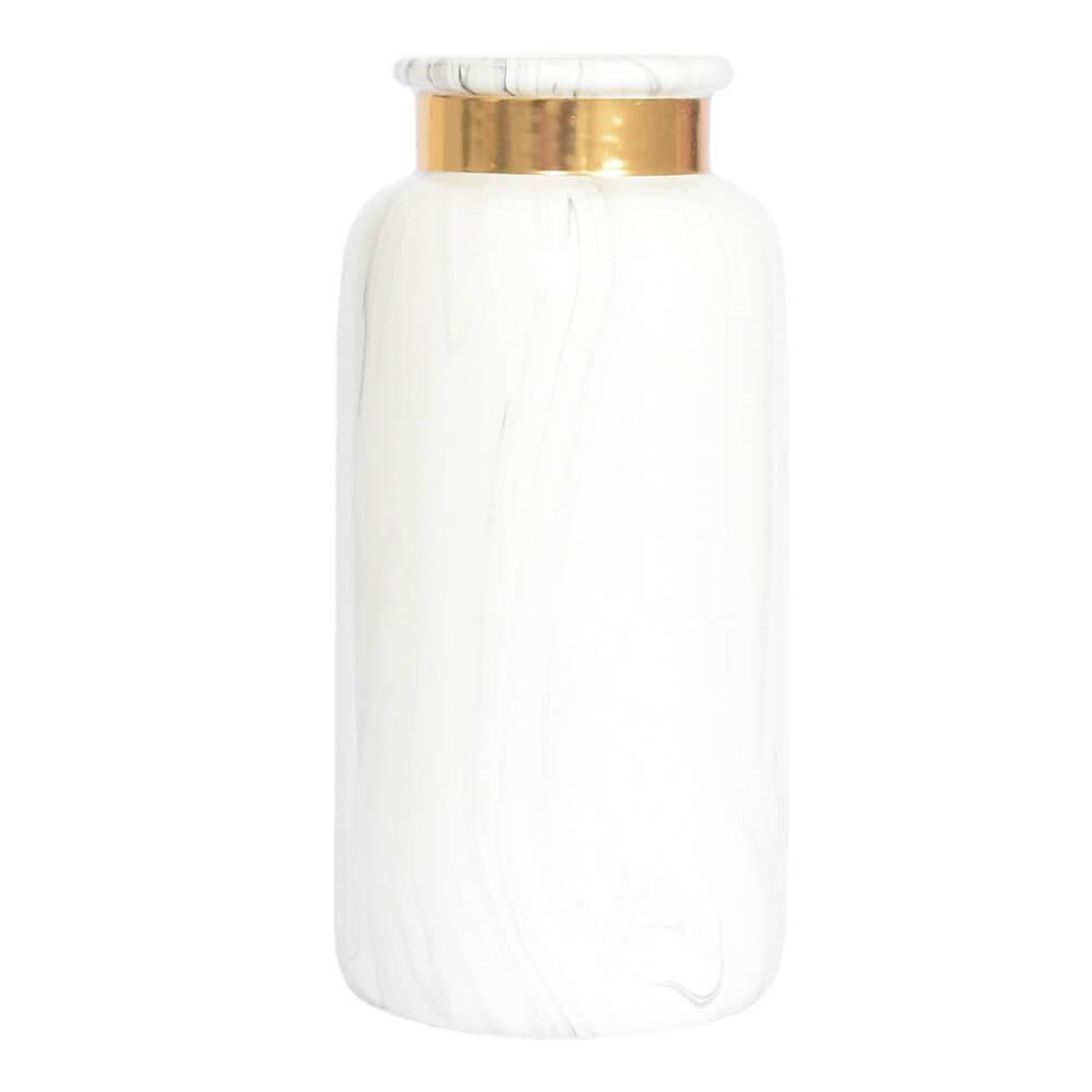 Vaso Branco e Dourado Marmorizado Blanc G 25 Cm