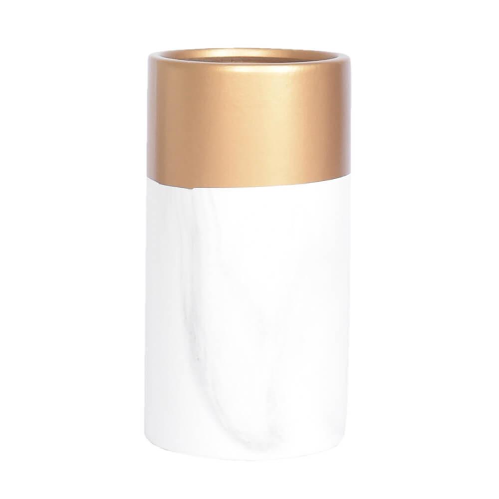 Vaso Branco e Dourado Marmorizado Rome 17 Cm
