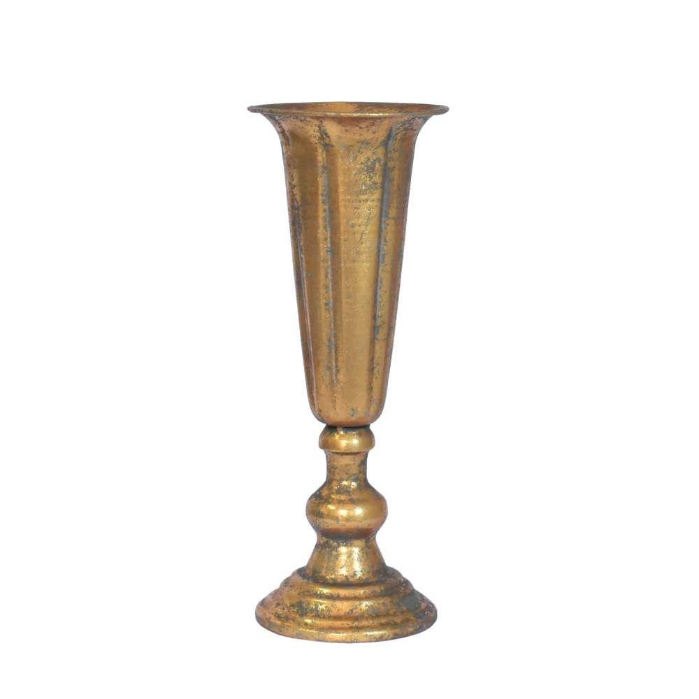 Vaso Dourado de Metal Rústico Doro 33 Cm