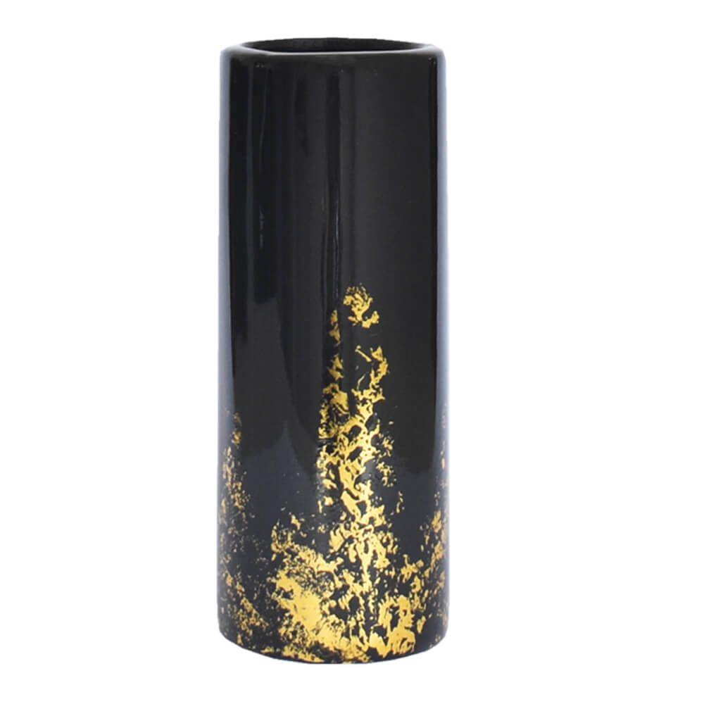 Vaso Preto e Dourado Noir G 27,5 Cm