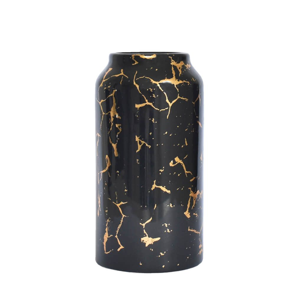 Vaso Preto e Dourado  Oslo G 23 Cm