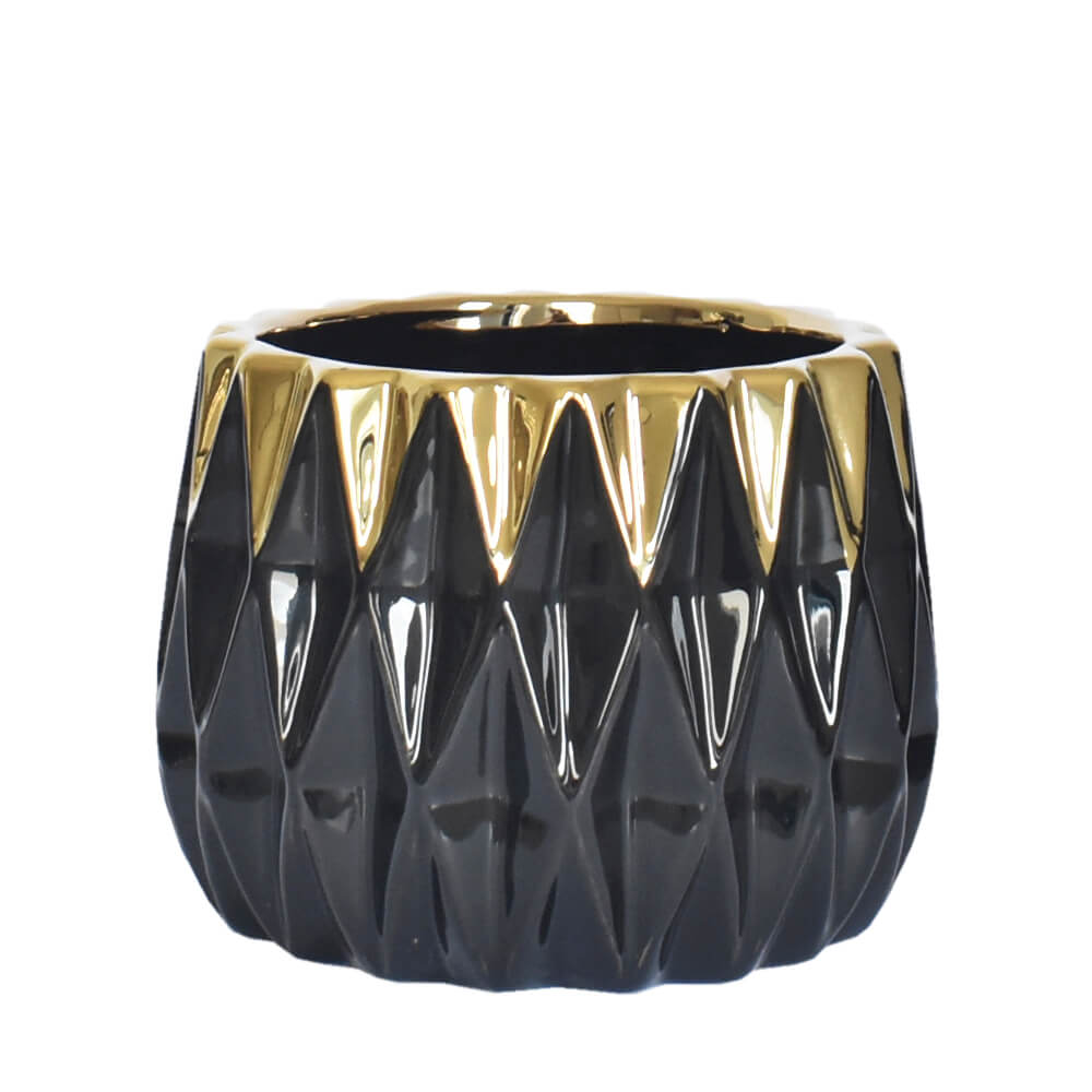 Vaso Preto e Dourado Trasure G 12 Cm