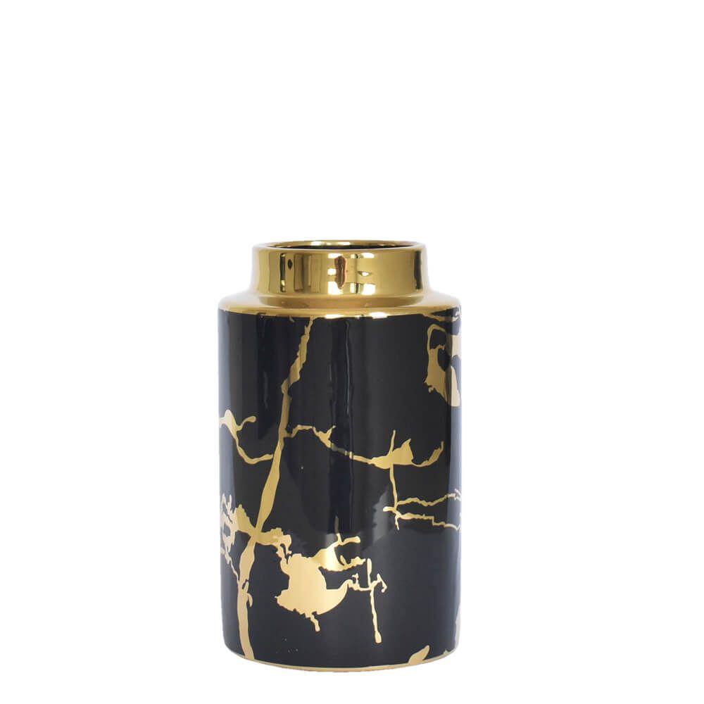Vaso Preto e Dourado Wonder P 20 Cm