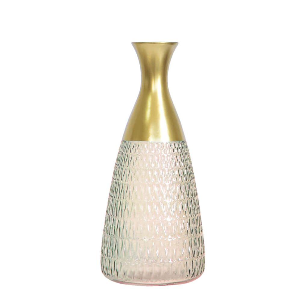 Vaso Rosa e Dourado Agave G 29,5 Cm