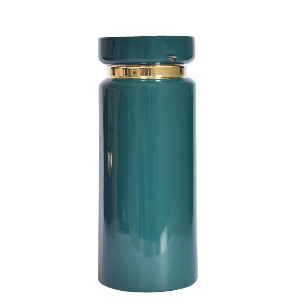 Vaso Verde e Dourado Vergga G 28,5 Cm