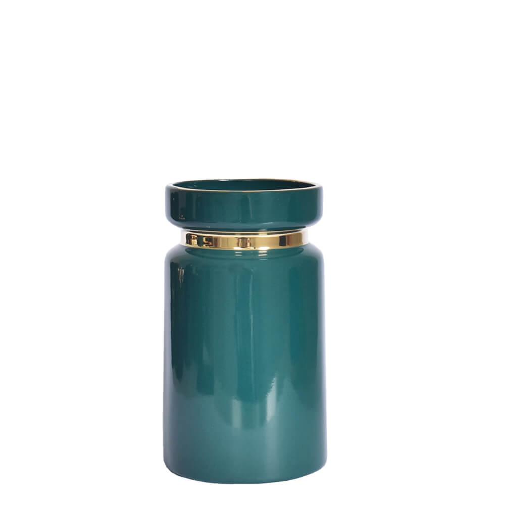 Vaso Verde e Dourado Vergga P 19,5 Cm