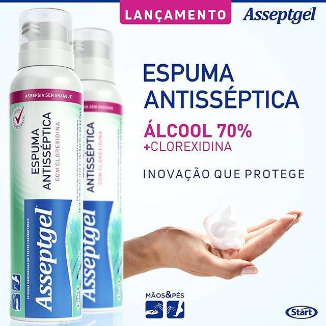 ESPUMA HIGIENIZADORA ANTISSÉPTICA ASSEPTGEL COM CLOREXIDINA 150 ML
